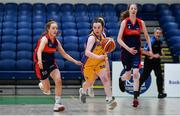 22 January 2020; Laura Canning of St Patrick's Academy Dungannon in action against Hannah Byrne of St Colmcille's C.S, Knocklyon during the Basketball Ireland U19 B Girls Schools Cup Final match between St Patrick's Academy Dungannon and St Colmcille's CS, Knocklyon at the National Basketball Arena in Tallaght, Dublin. Photo by David Fitzgerald/Sportsfile