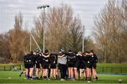 22 January 2020; The St. Patrick's Classical School squad huddle ahead of the Bank of Ireland Father Godfrey Cup Quarter-Final match between Ardscoil na Trionoide and St. Patrick's Classical School at Energia Park in Donnybrook, Dublin.  Photo by Ben McShane/Sportsfile