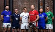 22 January 2020; Captains, from left, Charles Ollivon of France, Stuart Hogg of Scotland, Owen Farrell of England, Alun Wyn Jones of Wales, Luca Bigi of Italy, and Jonathan Sexton of Ireland during the Guinness Six Nations Rugby Championship Launch 2020 at Tobacco Dock in London, England. Photo by Ramsey Cardy/Sportsfile
