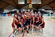22 January 2020; St Colmcille's C.S, Knocklyon players celebrate following the Basketball Ireland U19 B Girls Schools Cup Final match between St Patrick's Academy Dungannon and St Colmcille's CS, Knocklyon at the National Basketball Arena in Tallaght, Dublin. Photo by David Fitzgerald/Sportsfile