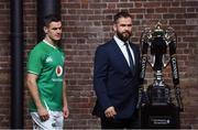 22 January 2020; Ireland head coach Andy Farrell, right, and captain Jonathan Sexton during the Guinness Six Nations Rugby Championship Launch 2020 at Tobacco Dock in London, England. Photo by Ramsey Cardy/Sportsfile