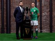 22 January 2020; Ireland head coach Andy Farrell, left, and captain Jonathan Sexton during the Guinness Six Nations Rugby Championship Launch 2020 at Tobacco Dock in London, England. Photo by Ramsey Cardy/Sportsfile
