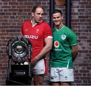 22 January 2020; Captains Alun Wyn Jones of Wales, left, and Jonathan Sexton of Ireland during the Guinness Six Nations Rugby Championship Launch 2020 at Tobacco Dock in London, England. Photo by Ramsey Cardy/Sportsfile
