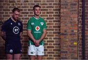 22 January 2020; Captains Stuart Hogg of Scotland, left, and Jonathan Sexton of Ireland during the Guinness Six Nations Rugby Championship Launch 2020 at Tobacco Dock in London, England. Photo by Ramsey Cardy/Sportsfile