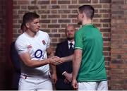 22 January 2020; Captains Jonathan Sexton of Ireland, right, and Owen Farrell of England during the Guinness Six Nations Rugby Championship Launch 2020 at Tobacco Dock in London, England. Photo by Ramsey Cardy/Sportsfile