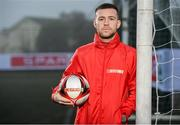 22 January 2020; The SPAR FAI Primary School 5s Programme was launched on Wednesday by Republic of Ireland footballer, Jack Byrne, pictured, and Republic of Ireland women's footballer, Amber Barrett. The pair were on hand at St. Patricks National School, Corduff, to provide a coaching masterclass to a number of students who will be competing in the national 5-a-side competition. School blitzes are open to boys and girls from 4th, 5th and 6th class, and puts emphasis on fun and inclusivity. Register for the SPAR5s by February 14th at www.fai.ie/primary5. Photo by Sam Barnes/Sportsfile