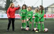 22 January 2020; The SPAR FAI Primary School 5s Programme was launched on Wednesday by Republic of Ireland footballer, Jack Byrne, and Republic of Ireland women's footballer, Amber Barrett, pictured. The pair were on hand at St. Patricks National School, Corduff, to provide a coaching masterclass to a number of students who will be competing in the national 5-a-side competition. School blitzes are open to boys and girls from 4th, 5th and 6th class, and puts emphasis on fun and inclusivity. Register for the SPAR5s by February 14th at www.fai.ie/primary5. Photo by Sam Barnes/Sportsfile