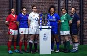 22 January 2020; Captains, from left, Siwan Lillicrap of Wales, Gaelle Hermet of France, Sarah Hunter of England, Giada Franco of Italy, Ciara Griffin of Ireland, and Rachel Malcolm of Scotland during the Guinness Six Nations Rugby Championship Launch 2020 at Tobacco Dock in London, England. Photo by Ramsey Cardy/Sportsfile
