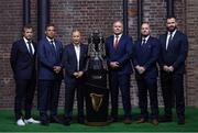 22 January 2020; Head coaches, from left, Fabien Galthie of France, Franco Smith of Italy, Eddie Jones of England, Wayne Pivac of Wales, Gregor Townsend of Scotland, and Andy Farrell of Ireland during the Guinness Six Nations Rugby Championship Launch 2020 at Tobacco Dock in London, England. Photo by Ramsey Cardy/Sportsfile
