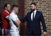 22 January 2020; Ireland head coach Andy Farrell with his son and England captain Owen Farrell during the Guinness Six Nations Rugby Championship Launch 2020 at Tobacco Dock in London, England. Photo by Ramsey Cardy/Sportsfile