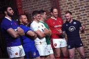 22 January 2020; Captains, from left, Charles Ollivon of France, Luca Bigi of Italy, Owen Farrell of England, Jonathan Sexton of Ireland, Alun Wyn Jones of Wales, and Stuart Hogg of Scotland during the Guinness Six Nations Rugby Championship Launch 2020 at Tobacco Dock in London, England. Photo by Ramsey Cardy/Sportsfile