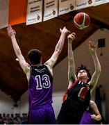 22 January 2020; Max Leadley of St Eunan's College, Letterkenny in action against Colm O'Reilly of Waterpark College, Waterford during the Basketball Ireland U19 B Boys Schools Cup Final match between St Eunan's College, Letterkenny and Waterpark College at the National Basketball Arena in Tallaght, Dublin. Photo by David Fitzgerald/Sportsfile