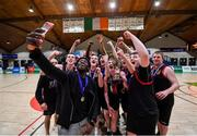 22 January 2020; St Eunan's College, Letterkenny coach Manny Peyton takes a selfie with the players and trophy following the Basketball Ireland U19 B Boys Schools Cup Final match between St Eunan's College, Letterkenny and Waterpark College at the National Basketball Arena in Tallaght, Dublin. Photo by David Fitzgerald/Sportsfile