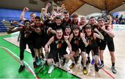 22 January 2020; St Eunan's College, Letterkenny players celebrate following the Basketball Ireland U19 B Boys Schools Cup Final match between St Eunan's College, Letterkenny and Waterpark College at the National Basketball Arena in Tallaght, Dublin. Photo by David Fitzgerald/Sportsfile