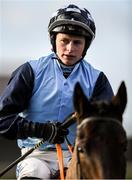 15 January 2020; Jockey Sean O'Keeffe riding Regina Dracones prior to the Ladbrokes Mares Maiden Hurdle at Punchestown Racecourse in Kildare. Photo by Harry Murphy/Sportsfile