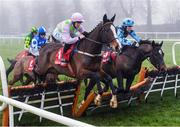 23 January 2020; Aione, left, with Rachael Blachmore up, jumps the last alongside Wherethewindsblow, with Aine O'Connor up, who finished fourth, on their way to winning the Connolly's Red Mills Irish EBF Ladies Auction Maiden Hurdle at Gowran Park in Kilkenny. Photo by Matt Browne/Sportsfile