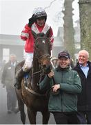 23 January 2020; Danny Mullins celebrates as he enters the winners enclosure after winning the Goffs Thyestes Handicap Steeplechase on Total Recall at Gowran Park in Kilkenny. Photo by Matt Browne/Sportsfile