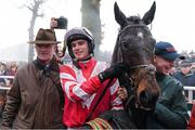 23 January 2020; Jockey Danny Mullins with trainer Willie Mullins after winning the Goffs Thyestes Handicap Steeplechase with Total Recall at Gowran Park in Kilkenny. Photo by Matt Browne/Sportsfile