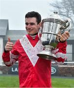 23 January 2020; Jockey Danny Mullins with the Thyestes Cup after winning the Goffs Thyestes Handicap Steeplechase with Total Recall at Gowran Park in Kilkenny. Photo by Matt Browne/Sportsfile