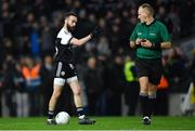 19 January 2020; Conor Laverty of Kilcoo and referee Conor Lane during the AIB GAA Football All-Ireland Senior Club Championship Final between Corofin and Kilcoo at Croke Park in Dublin. Photo by Piaras Ó Mídheach/Sportsfile
