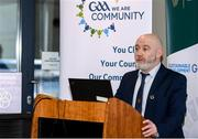 24 January 2020; GAA Technical Development and Support Manager Jimmy D'Arcy speaks at the GAA Local Authority SDG Launch at Croke Park in Dublin. Photo by Harry Murphy/Sportsfile