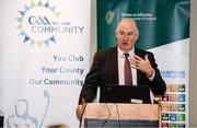 24 January 2020; Uachtarán Chumann Lúthchleas Gael John Horan speaks at the GAA Local Authority SDG Launch at Croke Park in Dublin. Photo by Harry Murphy/Sportsfile