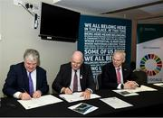 24 January 2020; Chairman CCMA Michael Walsh and Uachtarán Chumann Lúthchleas Gael John Horan sign with Chariman of the Local Autority Cliamte Change Steering Group Ciarán Hayes at the GAA Local Authority SDG Launch at Croke Park in Dublin. Photo by Harry Murphy/Sportsfile