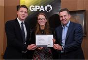 24 January 2020; Chairperson of the WGPA Maria Kinsella with GPA CEO Paul Flynn, left, and Chairman of Ronoc Michael Madden during the Jim Madden GPA Leadership Programme Graduation for 2019 at NUI Maynooth in Maynooth, Co Kildare. Photo by Matt Browne/Sportsfile