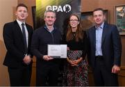 24 January 2020; Ciaran Deely receives his certificate from GPA CEO Paul Flynn, left, Chairperson of the WGPA Maria Kinsella, and Chairman of Ronoc Michael Madden during the Jim Madden GPA Leadership Programme Graduation for 2019 at NUI Maynooth in Maynooth, Co Kildare. Photo by Matt Browne/Sportsfile