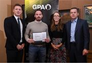 24 January 2020; Roscommon footballer Niall Kilroy receives his certificate from GPA CEO Paul Flynn, left, Chairperson of the WGPA Maria Kinsella, and Chairman of Ronoc Michael Madden during the Jim Madden GPA Leadership Programme Graduation for 2019 at NUI Maynooth in Maynooth, Co Kildare. Photo by Matt Browne/Sportsfile