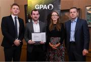 24 January 2020; Leitrim footballer James Glancy receives his certificate from GPA CEO Paul Flynn, left, Chairperson of the WGPA Maria Kinsella, and Chairman of Ronoc Michael Madden during the Jim Madden GPA Leadership Programme Graduation for 2019 at NUI Maynooth in Maynooth, Co Kildare. Photo by Matt Browne/Sportsfile
