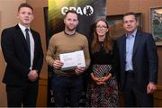 24 January 2020; Tipperary hurler Paddy Stapleton receives his certificate from GPA CEO Paul Flynn, left, Chairperson of the WGPA Maria Kinsella, and Chairman of Ronoc Michael Madden during the Jim Madden GPA Leadership Programme Graduation for 2019 at NUI Maynooth in Maynooth, Co Kildare. Photo by Matt Browne/Sportsfile