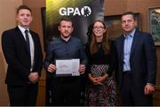 24 January 2020; Offaly hurler Seán Ryan receives his certificate from GPA CEO Paul Flynn, left, Chairperson of the WGPA Maria Kinsella, and Chairman of Ronoc Michael Madden during the Jim Madden GPA Leadership Programme Graduation for 2019 at NUI Maynooth in Maynooth, Co Kildare. Photo by Matt Browne/Sportsfile