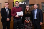 24 January 2020; Clare footballer Gary Brennan receives his certificate from GPA CEO Paul Flynn, left, Chairperson of the WGPA Maria Kinsella, and Chairman of Ronoc Michael Madden during the Jim Madden GPA Leadership Programme Graduation for 2019 at NUI Maynooth in Maynooth, Co Kildare. Photo by Matt Browne/Sportsfile