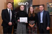 24 January 2020; Limerick camogie player Niamh Mulcahy receives her certificate from GPA CEO Paul Flynn, left, Chairperson of the WGPA Maria Kinsella, and Chairman of Ronoc Michael Madden during the Jim Madden GPA Leadership Programme Graduation for 2019 at NUI Maynooth in Maynooth, Co Kildare. Photo by Matt Browne/Sportsfile