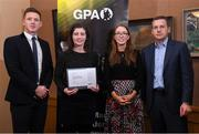 24 January 2020; Westmeath camogie player Fiona Keating receives her certificate from GPA CEO Paul Flynn, left, Chairperson of the WGPA Maria Kinsella, and Chairman of Ronoc Michael Madden during the Jim Madden GPA Leadership Programme Graduation for 2019 at NUI Maynooth in Maynooth, Co Kildare. Photo by Matt Browne/Sportsfile
