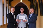 24 January 2020; Mayo footballer Stephen Coen receives his certificate from GPA CEO Paul Flynn, left and Chairman of Ronoc Michael Madden during the Jim Madden GPA Leadership Programme Graduation for 2019 at NUI Maynooth in Maynooth, Co Kildare. Photo by Matt Browne/Sportsfile