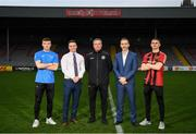 24 January 2020; Pictured is, from left, Danny Grant of Bohemian FC, NCI Sports Officer Stephen Cleary, Bohemian FC Manager Keith Long, NCI Head of Sport Deryck Tormey and Paddy Kirk of Bohemian FC at the launch of the National College of Ireland's partnership with Bohemian FC at Dalymount Park in Dublin. Photo by Harry Murphy/Sportsfile