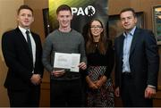 24 January 2020; John Meagher, Tipperary Football, with, from left, Paul Flynn, GPA, CEO, Maria Kinsella, Chairperson of the WGPA, and Michael Madden, Chairman of Ronoc, in attendance at the Jim Madden GPA Leadership Programme Graduation for 2019 at NUI Maynooth in Maynooth, Co Kildare. Photo by Matt Browne/Sportsfile