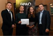 24 January 2020; Neil Ewing, Sligo Football, with, from left, Paul Flynn, GPA, CEO, Maria Kinsella, Chairperson of the WGPA, and Michael Madden, Chairman of Ronoc, in attendance at the Jim Madden GPA Leadership Programme Graduation for 2019 at NUI Maynooth in Maynooth, Co Kildare. Photo by Matt Browne/Sportsfile