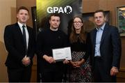 24 January 2020; Paul Killeen, Galway Hurling, with, from left, Paul Flynn, GPA, CEO, Maria Kinsella, Chairperson of the WGPA, and Michael Madden, Chairman of Ronoc, in attendance at the Jim Madden GPA Leadership Programme Graduation for 2019 at NUI Maynooth in Maynooth, Co Kildare. Photo by Matt Browne/Sportsfile