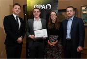 24 January 2020; Cillian Egan, Roscommon Hurling, with, from left, Paul Flynn, GPA, CEO, Maria Kinsella, Chairperson of the WGPA, and Michael Madden, Chairman of Ronoc, in attendance at the Jim Madden GPA Leadership Programme Graduation for 2019 at NUI Maynooth in Maynooth, Co Kildare. Photo by Matt Browne/Sportsfile
