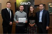 24 January 2020; Paul Cahillane, Laois Football, with, from left, Paul Flynn, GPA, CEO, Maria Kinsella, Chairperson of the WGPA, and Michael Madden, Chairman of Ronoc, in attendance at the Jim Madden GPA Leadership Programme Graduation for 2019 at NUI Maynooth in Maynooth, Co Kildare. Photo by Matt Browne/Sportsfile