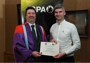 24 January 2020; Mark McGuire, Dean of Social Science at NUI Maynooth with Mark Hayes, Cavan Hurling, in attendance at the Jim Madden GPA Leadership Programme Graduation for 2019 at NUI Maynooth in Maynooth, Co Kildare. Photo by Matt Browne/Sportsfile