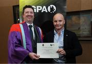 24 January 2020; Mark McGuire, Dean of Social Science at NUI Maynooth with Patrick Nolan, Roscommon Hurling, in attendance at the Jim Madden GPA Leadership Programme Graduation for 2019 at NUI Maynooth in Maynooth, Co Kildare. Photo by Matt Browne/Sportsfile