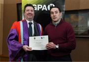 24 January 2020; Mark McGuire, Dean of Social Science at NUI Maynooth with Shane O'Sullivan, Waterford Hurling, in attendance at the Jim Madden GPA Leadership Programme Graduation for 2019 at NUI Maynooth in Maynooth, Co Kildare. Photo by Matt Browne/Sportsfile