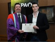 24 January 2020; Mark McGuire, Dean of Social Science at NUI Maynooth with Donnacha Tobin, Meath Football, in attendance at the Jim Madden GPA Leadership Programme Graduation for 2019 at NUI Maynooth in Maynooth, Co Kildare. Photo by Matt Browne/Sportsfile