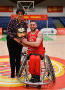 24 January 2020; Derek Hegarty of Rebel Wheelers is presented with the MVP by President of Basketball Ireland Theresa Walsh after the Hula Hoops IWA Wheelchair Basketball Cup Final match between Killester WBC and Rebel Wheelers at the National Basketball Arena in Tallaght, Dublin. Photo by Brendan Moran/Sportsfile