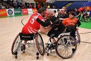 24 January 2020; Paul Ryan of Rebel Wheelers, left, and Barry Cooke of Killester WBC after the Hula Hoops IWA Wheelchair Basketball Cup Final match between Killester WBC and Rebel Wheelers at the National Basketball Arena in Tallaght, Dublin. Photo by Brendan Moran/Sportsfile
