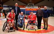 24 January 2020; Rebel Wheelers vice captain Dylan McCarthy, left, and captain Jack Quinn are presented with the cup by Adrian Donoghue, Secretary and Compliance Officer, IWA, SCC, in the company of Basketball Ireland CEO Bernard O'Byrne, Basketball Ireland President Theresa Walsh and Nicky Hamill, Director of Sport at the IWA, after the Hula Hoops IWA Wheelchair Basketball Cup Final match between Killester WBC and Rebel Wheelers at the National Basketball Arena in Tallaght, Dublin. Photo by Brendan Moran/Sportsfile